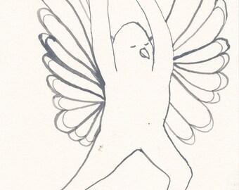 SALE Yoga Bliss Original / gouache painting