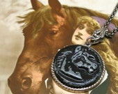 Black Beauty, 1800s BUTTON necklace, Victorian HORSE on silver chain. Antique button jewellery.