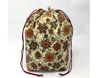MOVING SALE - Holiday Christmas Winter Snowflakes Knitting Drawstring Project Bag