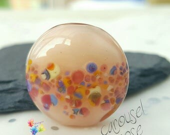 Lampwork Glass Beads Carousel Rose Lentil
