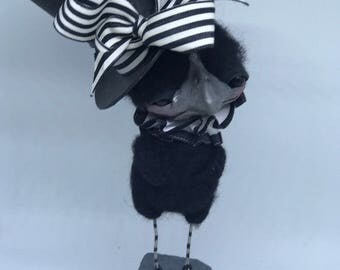 On hold.  Carter t he sophisticated black bird Ooak   art doll