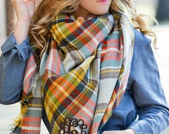 Monogrammed oversized square plaid blanket scarf - Oak and Elder Plaid - Grey, Brown, Orange - large scarves, warm scarves, Oversized Scarf