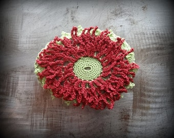 Red Bloom, Stone, Crocheted Lace, Folk Art, Table Decor, Original, Handmade, Home Decor, Collectible, Monicaj