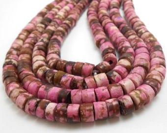 80 Fuchsia Pink & Brown Bone Beads, Heishi Beads (H2227)