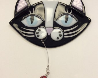 Fused Glass Suncatcher-Black Cat with Fish