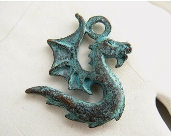 SALE NEW ITEM Winged Serpent Dragon Double Sided Pendant Mykonos Greek Copper Antiqued Green Turquoise Naos