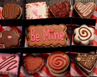 "Decorated Valentine's Day ""CHOCOLATE BOX"" of  sugar cookies theme.  Custom Thank you tag."