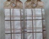 SET OF 2 - Hanging Cloth Top Kitchen Hand Towels - Khaki Scroll Print, Larger Khaki Plaid Towels