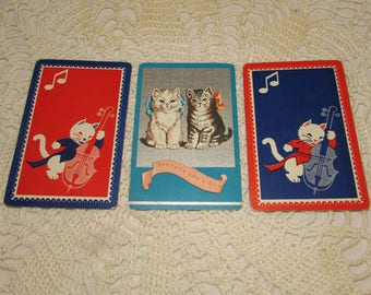 Lot of 3 Vintage Playing Swap Cards, Kitty Cat Themed, Trading, Scrapbooking, paper ephemera