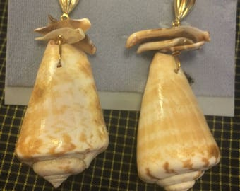 Unique New Vintage Stock Small Conch Shell Dangle Earrings