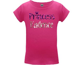 Princess Sparkle Name Shirt Girls, Personalized Glitter Tee, Custom made baby, toddler and big girls. Choose colors