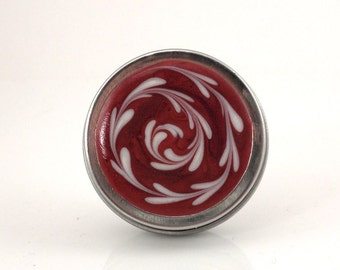 Small Metallic Red Box - Metallic Red and White Spiral Box - Small Jewelry Box - Trinket Box - Pill Box - Handmade - Ready to Ship - #65