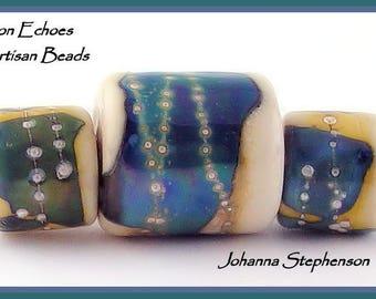 BIG HOLE Silvered Blue Shards on Ivory Lampwork Bead Set SRA
