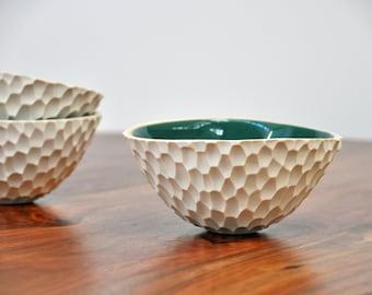 Small Jade Coneflower Bowl - Carved Ceramic Serving Bowl Blue Green White Ceramic Bowl