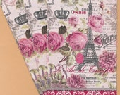 PN009 Set of 3 Paper Napkins by Cypress Home ~ 4.5 x 8 Beautiful Paris Collage, Eiffel Tower French