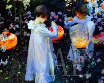 PR-209 Artistic Ephemera Print ~ One 8x10 or Two 5x7s ~ John Singer Sargent ~ Victorian Children Garden Lighting Chinese Lanterns