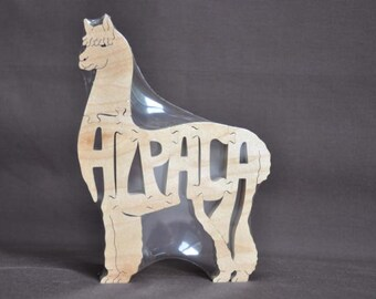 Alpaca Wooden Puzzle Toy  Hand  Cut  with Scroll Saw