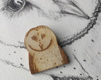 Barn Owl Brooch Wearable Art - Bird Brooch Laser Cut Animal Art Eco Woodland