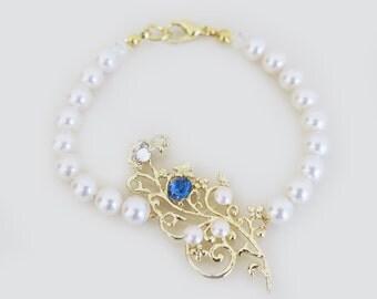 Gold Bridal Bracelet, Pearl Bracelet Wedding, Something Blue, Bridal Statement Bracelet, Wedding Jewelry, Swarovski Pearls and Crystals