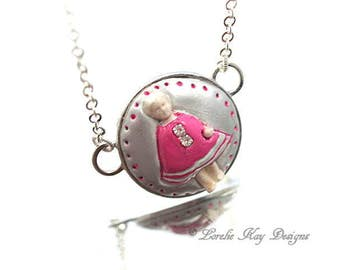 Tiny Frozen Charlotte Necklace Simple Style Girly Pink Pendant Lorelie Kay Original