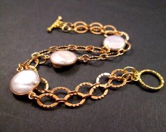 Freshwater Pearl Bracelet, White Coin Pearl Bezels, Gold Double Strand Bracelet, FREE Shipping U.S.