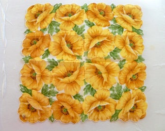 Vintage Floral Handkerchief - Yellow Poppies - Scalloped Edge