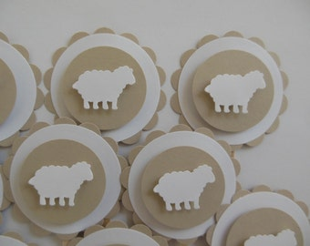Sheep or Lamb Cupcake Toppers - Tan and White - Birthday Parties - Baptisms - Baby Showers - Set of 12