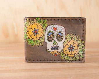Leather Bifold Wallet - Mens or Womens - Walden pattern with day of the dead Sugar Skull - Handmade - Third Anniversary Gift