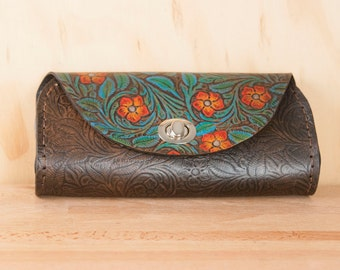 Leather Clutch - Handmade in Tooled Floral Leather in Turquoise and Black - Leather Purse, Clutch, Wristlet, or Waist Bag