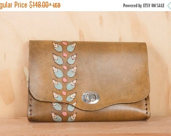 JANUARY SALE Leather Waist Purse - Small Leather Box Clutch in the Petal Pattern with Leaves - Use as Bum Bag - Clutch - Shoulder Bag or Cro