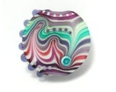 Michal S- Glass Art purple and turquoise Lampwork lentil focal bead. Ready to ship