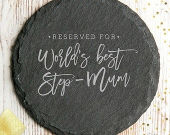 Worlds Best Step-Mum Slate Coaster