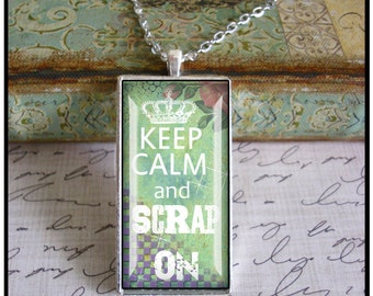 Keep Calm and Scrap On... altered art pendants, illustration pendants, gift boxed,scrapbook,love to scrap, jewelry for scrapbook enthusiasts