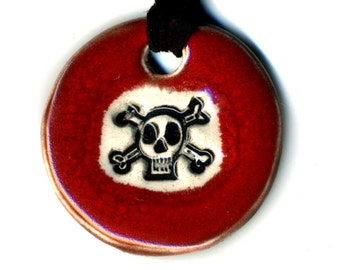 Skull and Crossbones Ceramic Necklace in Red