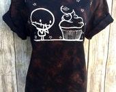 A (Ladies XL) Zombie Cupcake BlackTie Dye Dark Halloween swirl orange Organic T-shirt by Love Rocky The Zombie