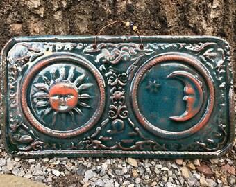 Sun and Moon Celestial Art Tile