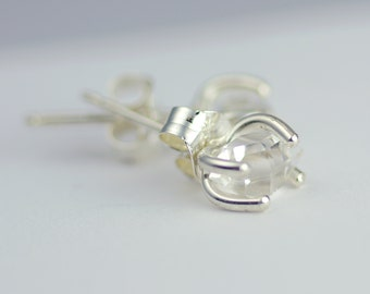 Herkimer Diamond Earrings - Crystal Point - Stud Post Earrings - Crystal Clear Quartz - Dainty Mini Everyday Earrings - Boho Wedding 3060