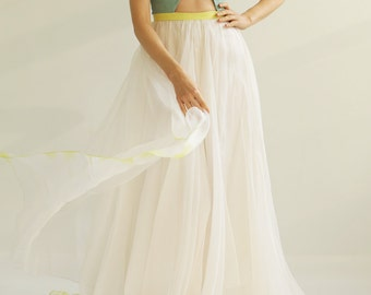 Sample SALE  white fine silk organza and aqua cut out gown