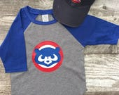Boys Unisex Chicago Cubs Cubbies Bear Baseball T 3/4 Sleeve T Shirt Navy Blue Gray modern graphic trendy TSLM