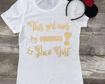 Womens Short Sleeve Disney Starbucks Pixie Dust T Shirt White Gold