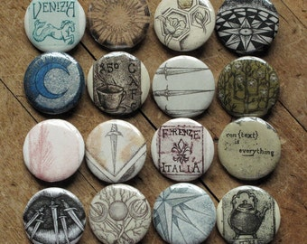 Assorted Etchings - set of 4 pinback art buttons