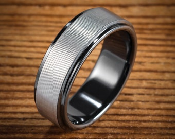 Men's Wedding Band Comfort Fit Interior Black Zirconium Brushed Koenig Ring