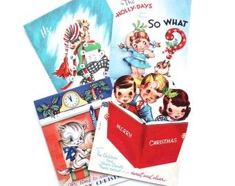 Vintage Mid Century Colorful Kids Christmas Cards