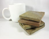 TINY SLATE COASTERS for Tiny House - 4 Natural Stone - Assorted Colors - Heavy, Absorbent, Work Great, Do Not Stick, Coasters for Drinks