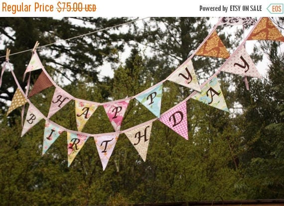 20% OFF Shabby Chic Happy Birthday Banner Bunting Party Flags.  A Unique Party Decoration.  Reversible.