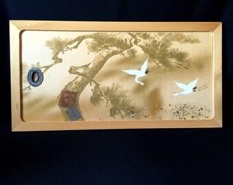 Japanese Small Sliding Door - Vintage Sliding Door Panel - Cranes And Pine Trees (1)