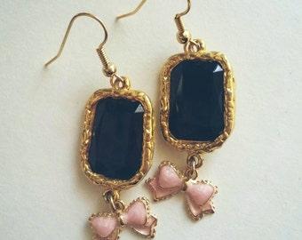 Recycled Vintage Lolita Black Baby Pink Earrings