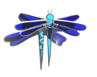 You Pick Any Color - 3D Stained Glass Ornament - Mini Dragonfly Hanging Suncatcher Yard Art Christmas Holidays Home Decor (MADE TO ORDER)