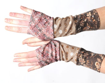 Brown fingerless gloves, Long armwarmers in a patchwork of rosewood and brown vintage jersey, Gift for women, Womens accessories, MALAM
