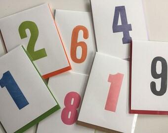 Vintage Wood Type Number Letterpress Birthday Anniversary Card